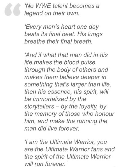 The Ultimate Warrior's final remarks