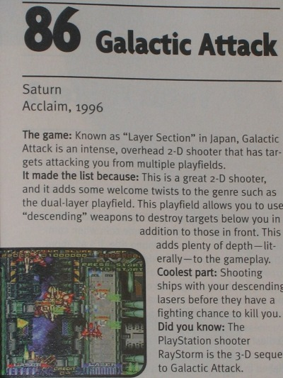 Ranked #86 on EGM's Top 100 Games list November 1997