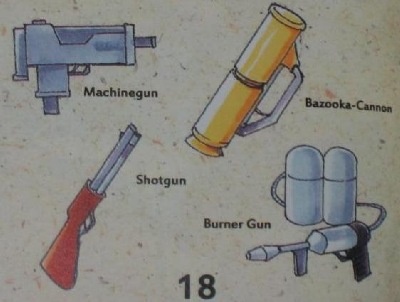 Love especially the bazooka and burner gun