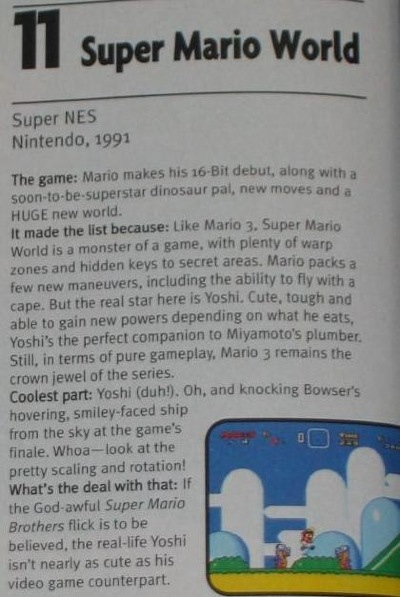 Super Mario World placed a lofty #11 on EGM's Top 100 List