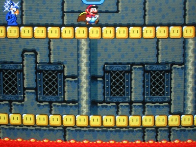 Lemmy's castle is filled with danger, like this Magikoopa