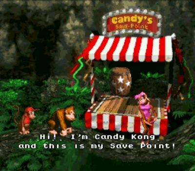 Candy, a sweetie, will save your game free of charge