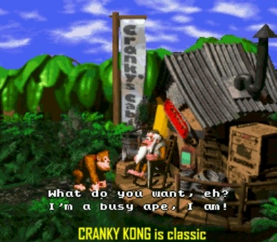 Cranky is the original Donkey Kong now aged