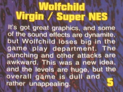 EGM, or at least this one guy, didn't like Wolfchild much