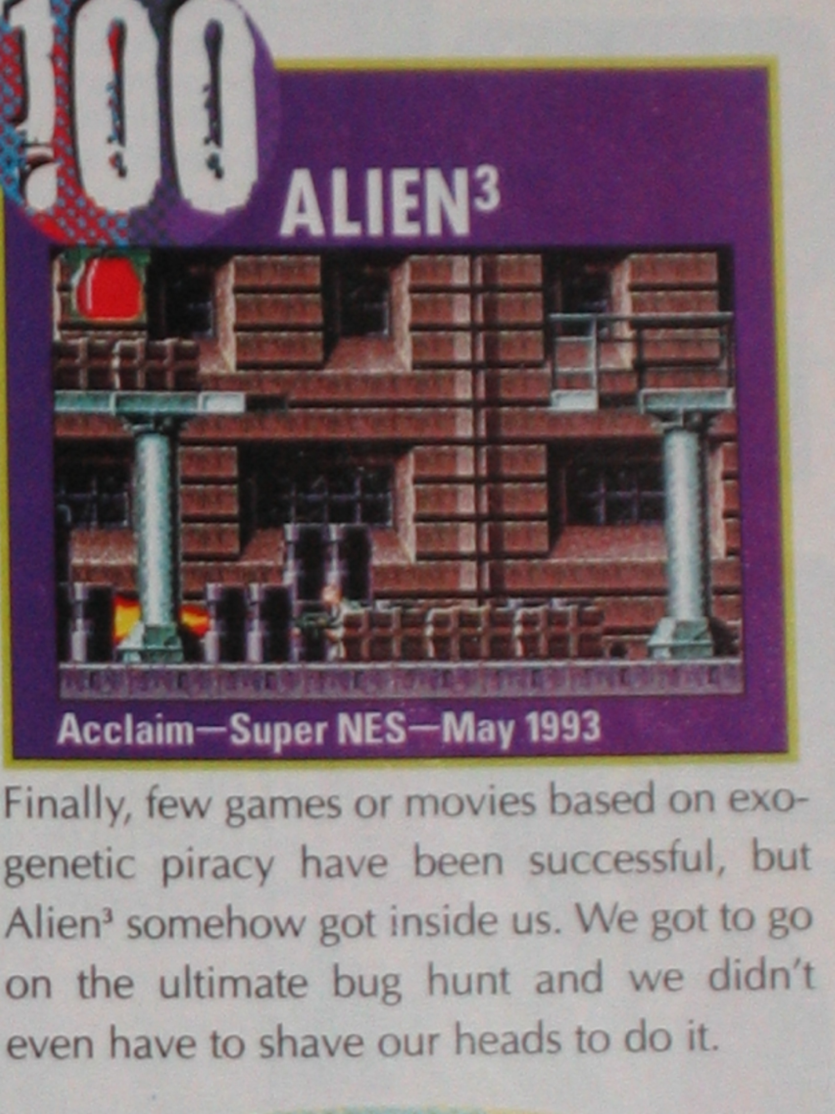 Alien³ made Nintendo Power's Top 100 at #100
