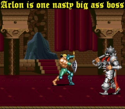 Arlon the Silver King is the first tough boss you face