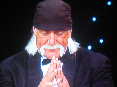 The Hulkster cracks a grin while reminiscing along