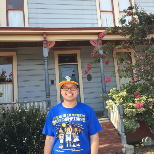 Here I am in front of the Myers' house
