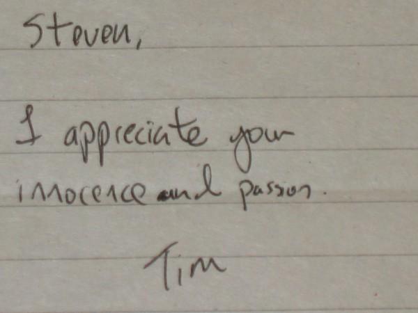 Ha! Classic Tim!