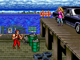 Fight Splatterhead on the docks in the arcade