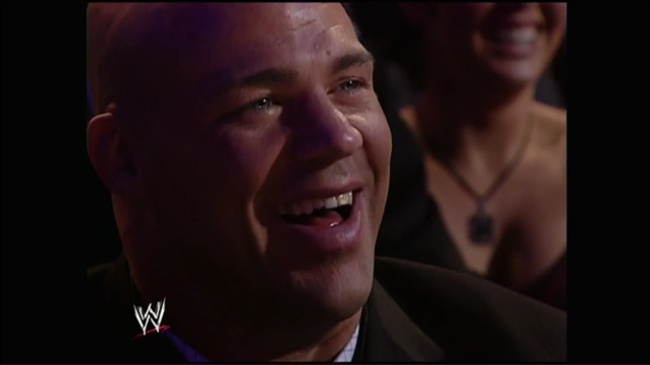Kurt Angle and the capacity crowd erupts in laughter