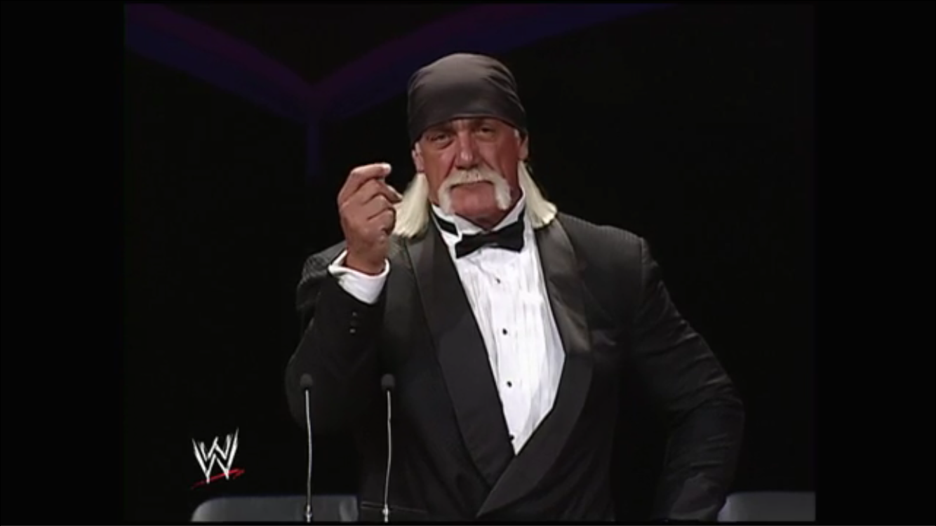 Crowd starts to jeer in good fun. Classic Hogan!