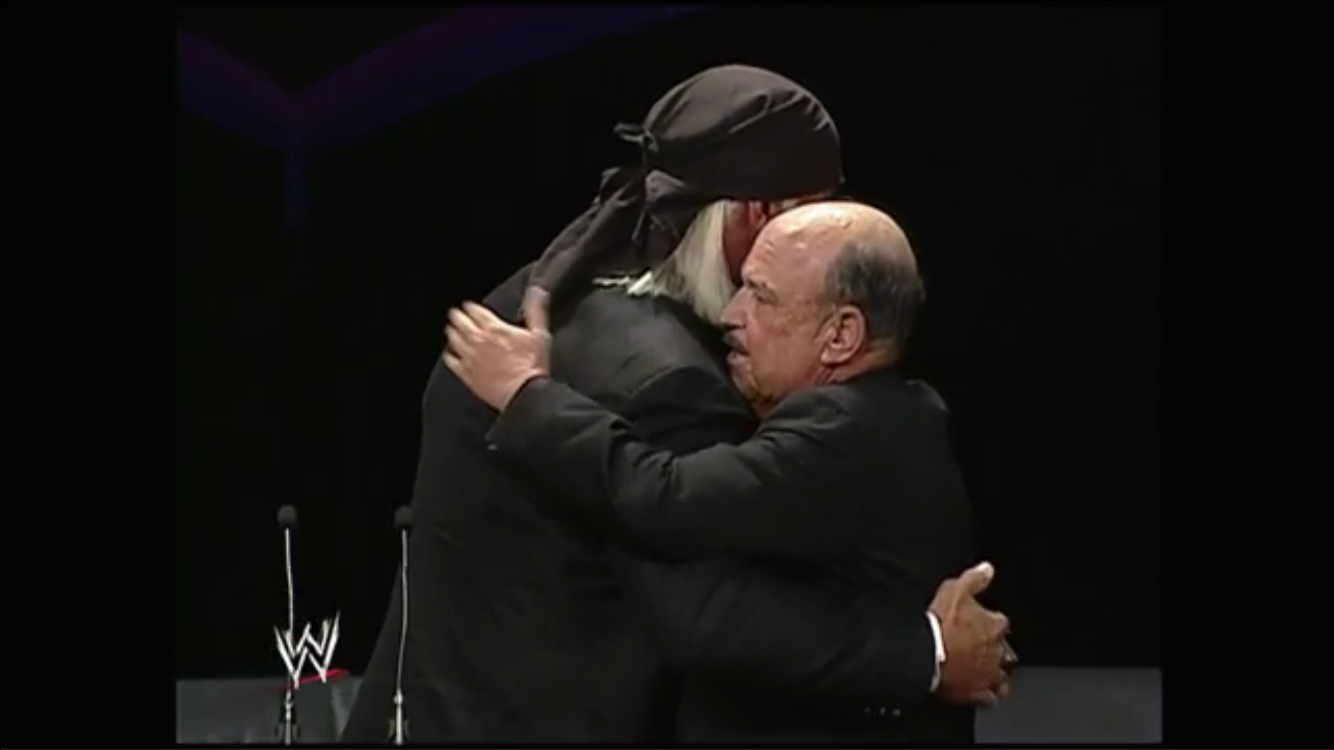 The two longtime friends embrace