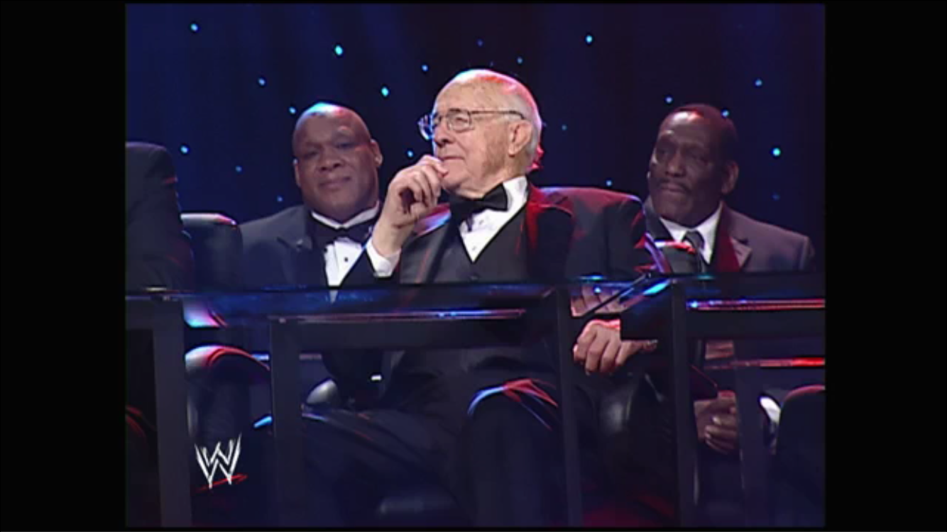 Verne Gagne, Tony Atlas and SD Jones look on