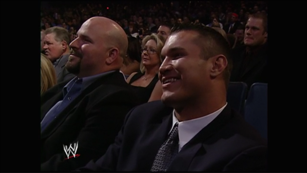 Randy Orton and the crowd chuckle knowingly...