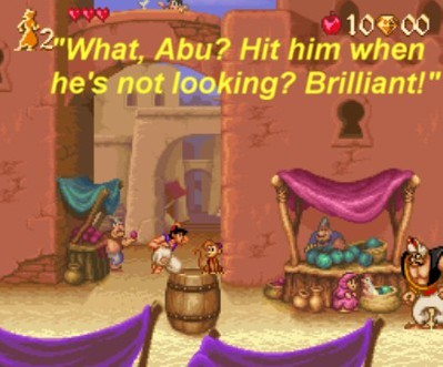 The game begins In the dusty streets of Agrabah