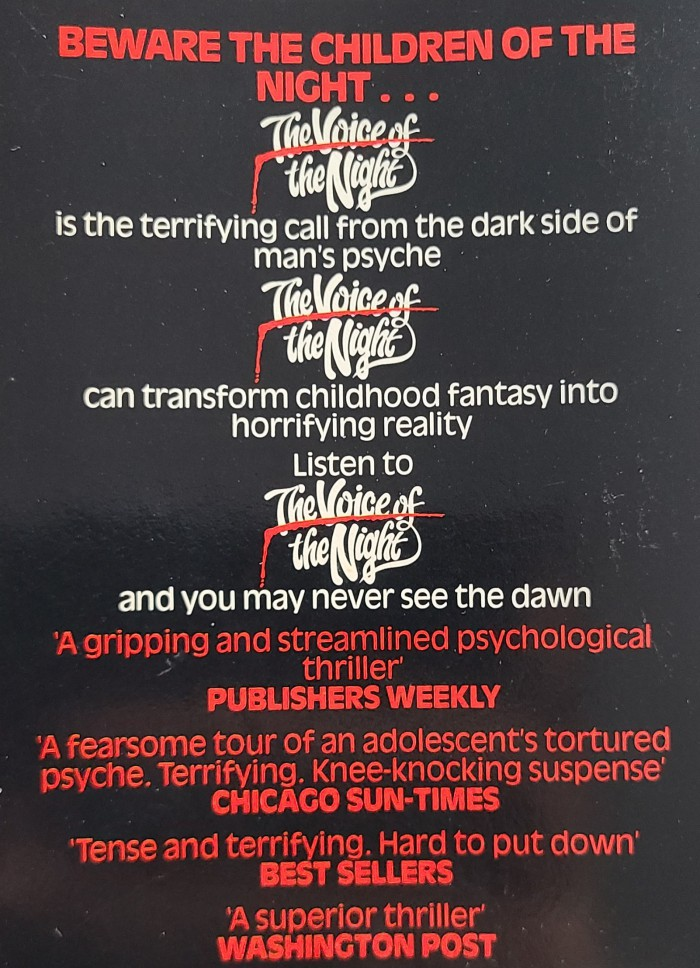Back cover of the Star edition (1985)